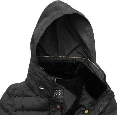 QUILTED HOODED JACKET BLACK (WZ567)