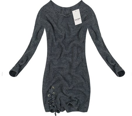 LONGLINE JUMPER WITH LACE-UP DETAIL PEWTER (0473)