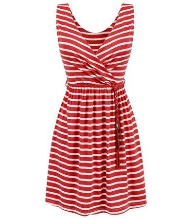 STRIPED DRESS RED+WHITE (5138)