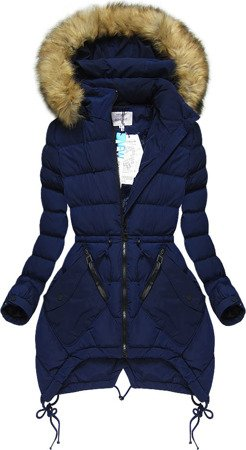 HOODED QUILTED JACKET NAVY BLUE (3506W)