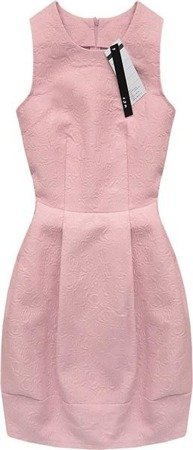 EMBOSSED PATTERN DRESS PINK (3121)