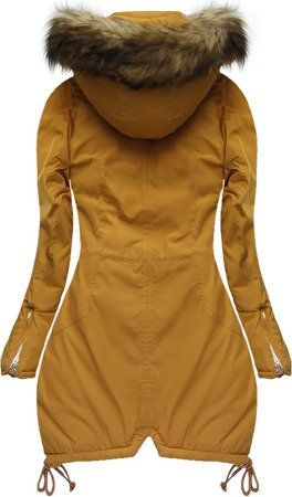 HOODED QUILTED JACKET MUSTARD (7206W)