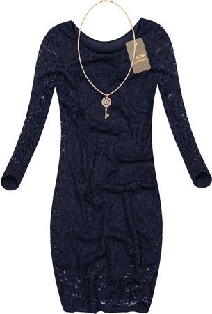 LACE DRESS WITH NECKLACE NAVY BLUE (LIAN)