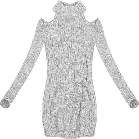 SHORT POLO NECK JUMPER WITH COLD SLEEVE GREY (GOOD91)