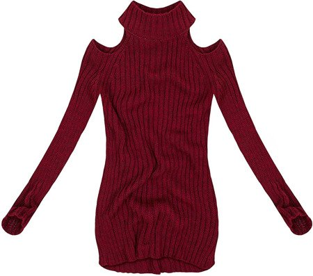 SHORT POLO NECK JUMPER WITH COLD SLEEVE WINE (GOOD90)