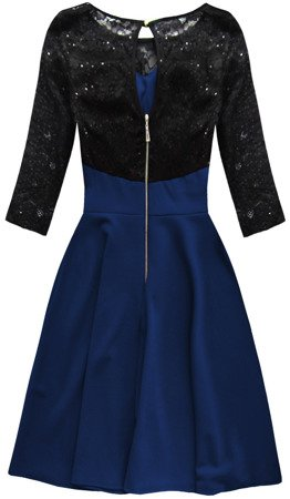 SEQUIN DETAIL DRESS BLACK+NAVY BLUE (88104)