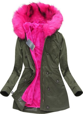 WINTER COTTON PARKA WITH LINER KHAKI+PINK