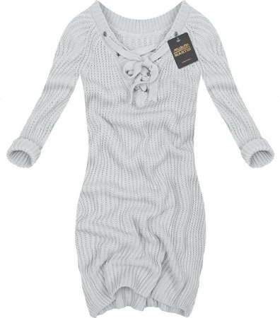 LACE-UP NECKLINE JUMPER GREY (GOOD96)