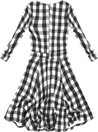CHECKED DRESS WHITE+BLACK (9467)