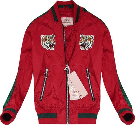 BOMBER JACKET WITH BADGES RED (XW556X)