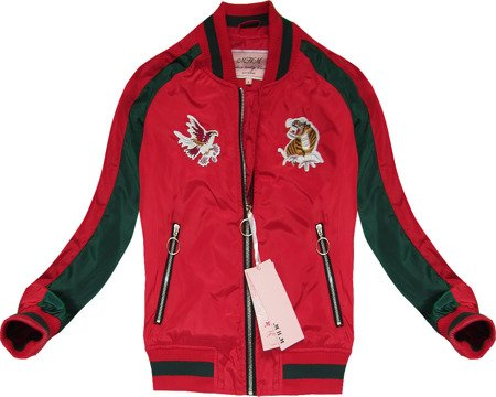 BOMBER JACKET WITH BADGES RED (W555)