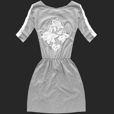 DRESS WITH OPENWORK LACE INSERTS LIGHT GREY (9642)