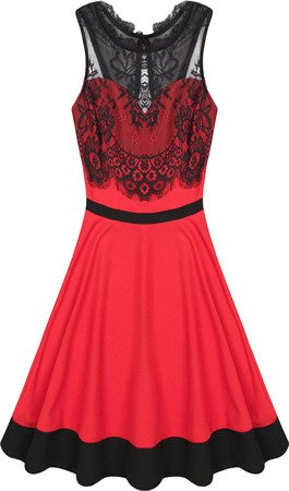 LACE DETAIL DRESS RED (2438)