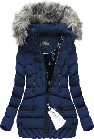 HOODED QUILTED JACKET NAVY BLUE (W819)