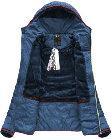QUILTED HOODED JACKET NAVY BLUE (CX586W)