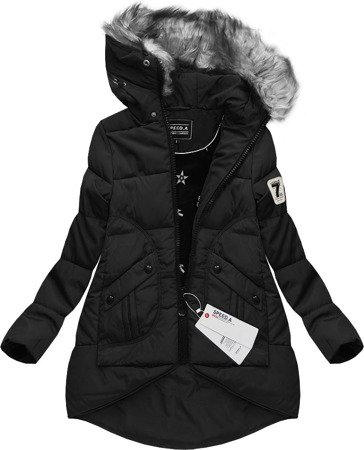 HOODED QUILTED JACKET BLACK (W803)