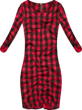 SIMPLE CHECKED DRESS BLACK+RED (9923)