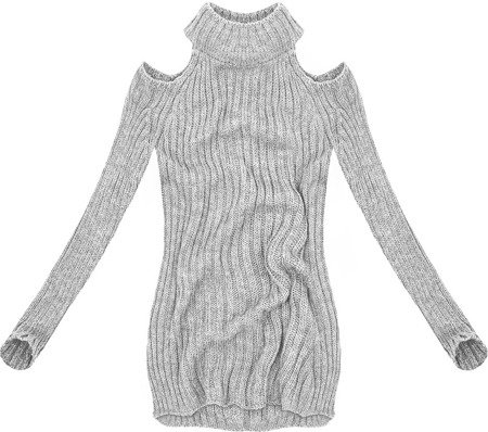 SHORT POLO NECK JUMPER WITH COLD SLEEVE GREY (GOOD90)