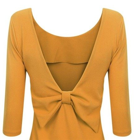 EMBELLISHED NECKLINE & BOW DETAIL DRESS MUSTARD (VIVI)