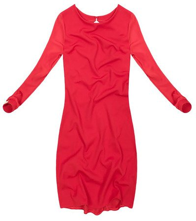 TRANSPARENT SLEEVE DRESS RED (GOOD113)