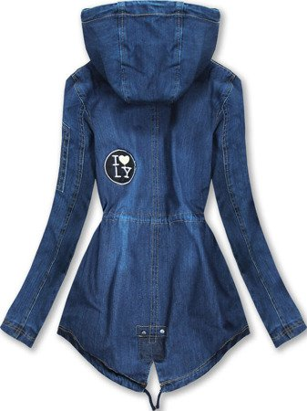 DENIM JACKET WITH BAGDES DARK BLUE (W523)
