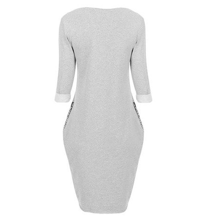 WORD PRINTED BUBBLE DRESS LIGHT GREY (6872)