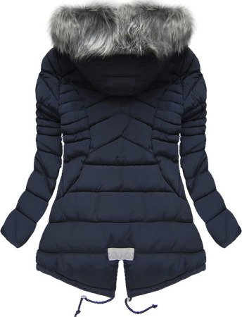 SHORT HOODED QUILTED JACKET NAVY BLUE (W826)