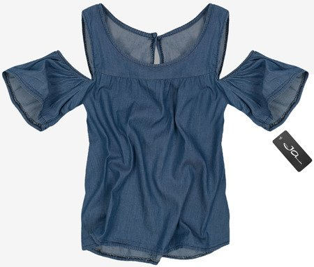 COLD SHOULDER TOP DARK BLUE (8549)