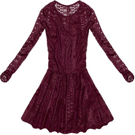 LACE FLARED DRESS WINE (9910)