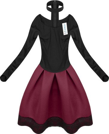 NEOPRENE DRESS WITH CHOKER BLACK+WINE (1464)