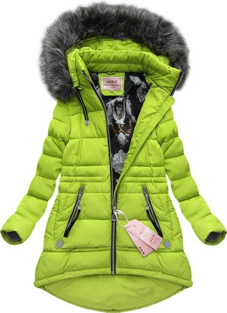 LONG HOODED JACKET LIME (W506)