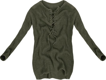 LACE-UP NECKLINE JUMPER KHAKI (GOOD94)