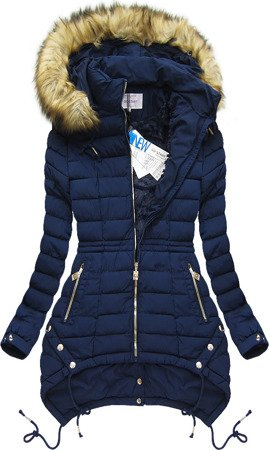 HOODED QUILTED JACKET NAVY BLUE (3503W)