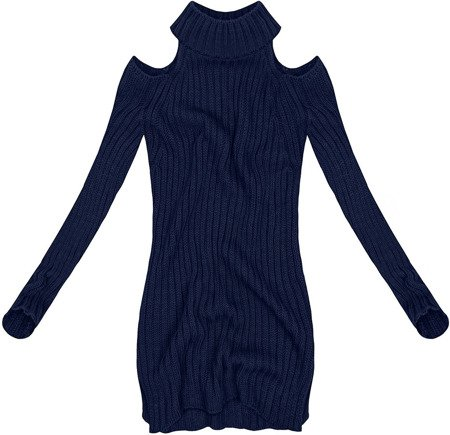 SHORT POLO NECK JUMPER WITH COLD SLEEVE NAVY BLUE (GOOD91)