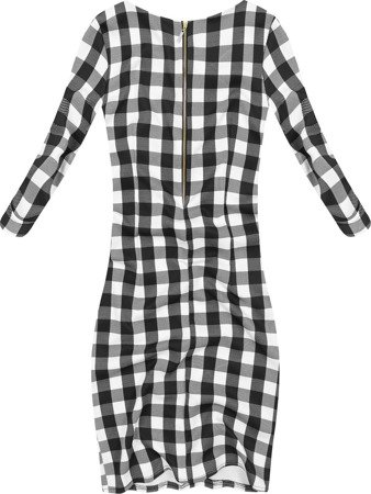 SIMPLE CHECKED DRESS WHITE+BLACK (9923)