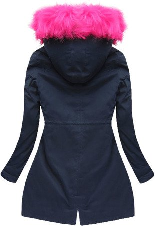 WINTER COTTON PARKA WITH LINER NAVY BLUE+PINK (7596)