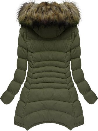 DETACHABLE SLEEVE HOODED QUILTED JACKET KHAKI (W822)