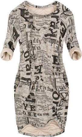 WORD PRINTED OVERSIZED DRESS BEIGE (9100/3)