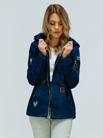 DENIM JACKET WITH BAGDES  NAVY BLUE (W523)