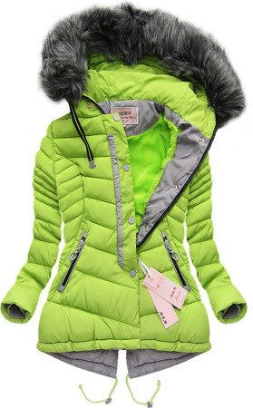 SHORT HOODED QUILTED JACKET LIME (W826)