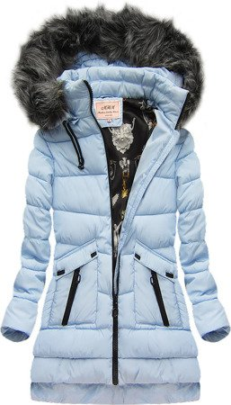 HOODED QUILTED JACKET BABY BLUE (W522)