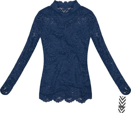 STAND-UP COLLAR LACE TOP NAVY BLUE (GOOD103)