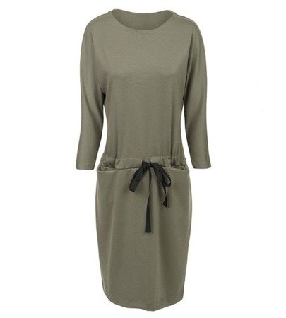 DRAWSTRING WAIST DRESS KHAKI (S32)