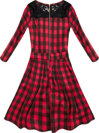 CHECKED FLARED DRESS BLACK+RED (1658)