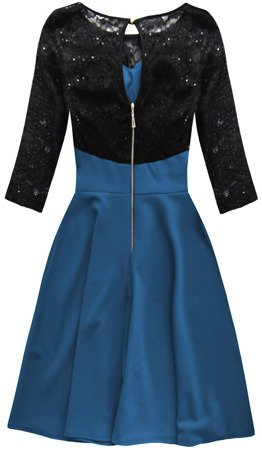 SEQUIN DETAIL DRESS BLACK+CORNFLOWER BLUE (88104)