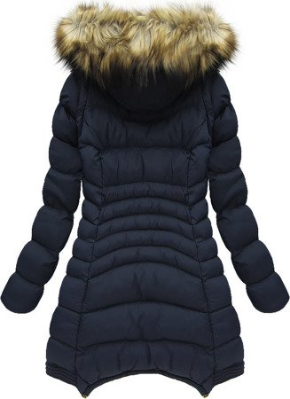 DETACHABLE SLEEVE HOODED QUILTED JACKET NAVY BLUE (W822)
