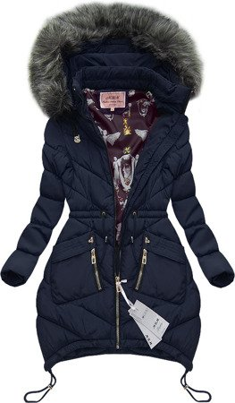 LONG HOODED QUILTED JACKET NAVY BLUE (W508)