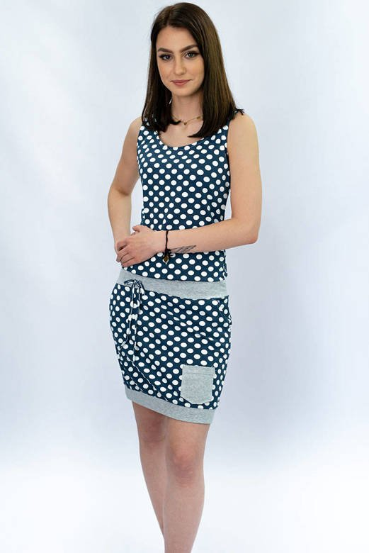 POLKA DOTTED DRESS WITH POCKET NAVY BLUE (1570)