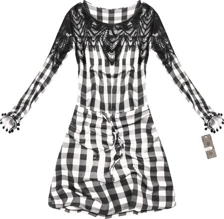CHECKED DRESS WITH LACE DETAIL WHITE+BLACK (1671)