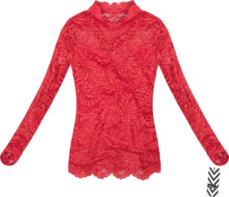 STAND-UP COLLAR LACE TOP RED (GOOD103)